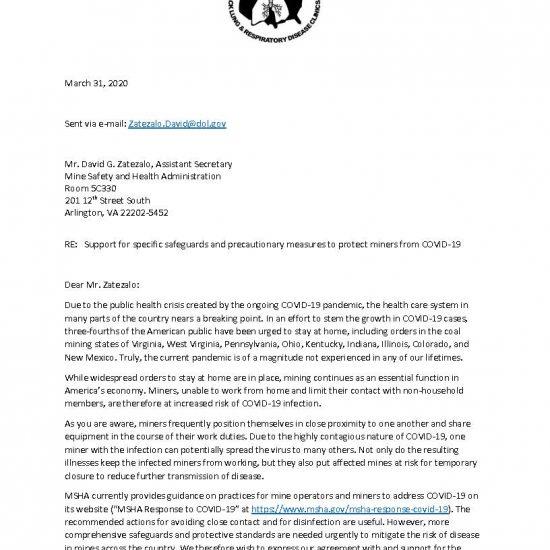 Letter to MSHA